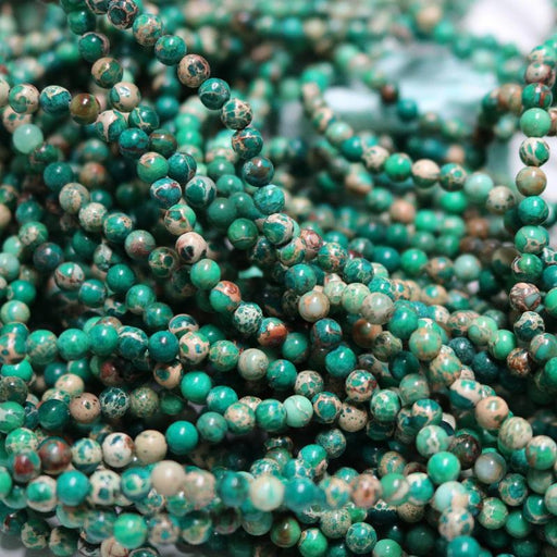 green impression jasper, 4mm, round, glossy, 1 strand, 16 inches, approx. 96 beads.-Gemstone Beads-BeadsVenture