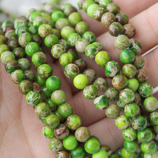 green impression jasper, 6mm, round, glossy, 1 strand, 16 inches, approx. 66 beads.-Gemstone Beads-BeadsVenture