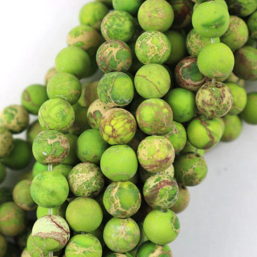 green impression jasper, 6mm, round, matte, 1 strand, 16 inches, approx. 66 beads.-Gemstone Beads-BeadsVenture