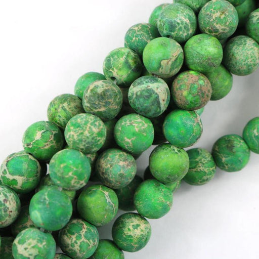 green impression jasper, 8mm, round, matte, 1 strand, 16 inches, approx. 48 beads.-Gemstone Beads-BeadsVenture