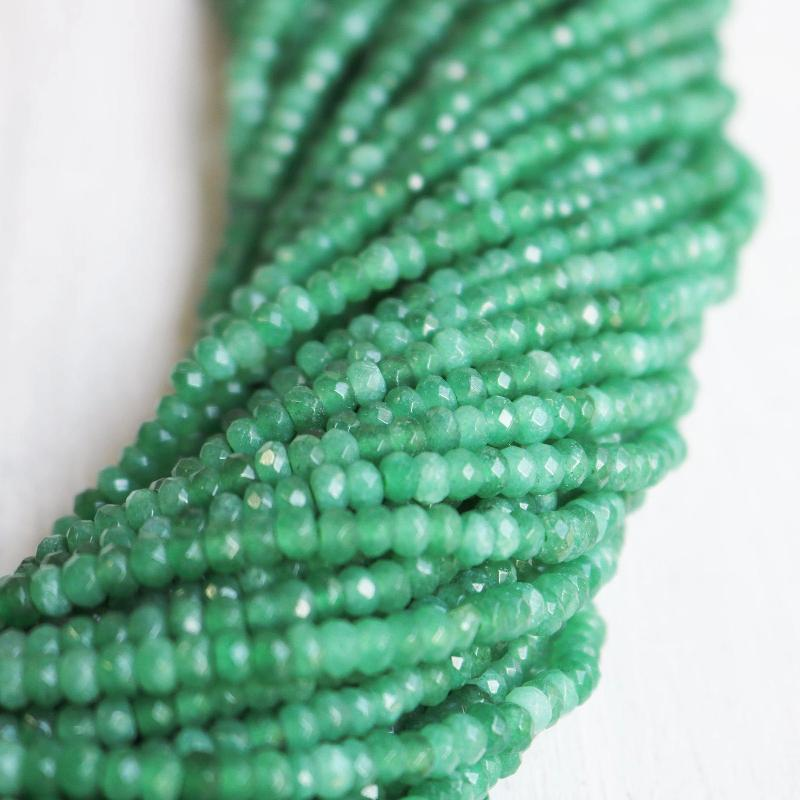 green jade, approx. 4mm x 2mm, rondelle, faceted, 1 strand, 16 inches, approx. 110 beads.-Gemstone Beads-BeadsVenture