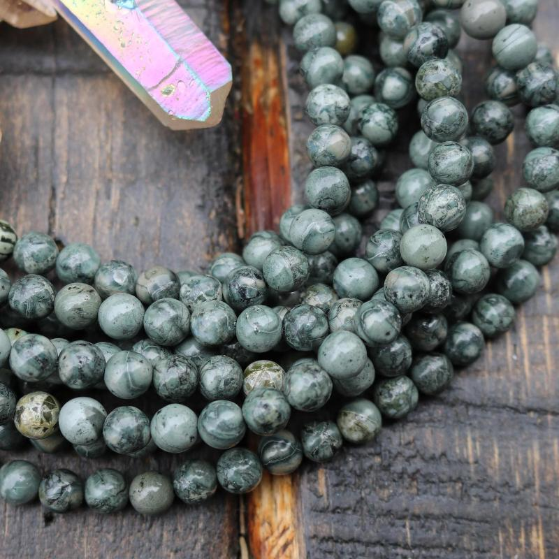 green jasper, 6mm, round, glossy, 1 strand, 16 inches, approx. 66 beads.-Gemstone Beads-BeadsVenture