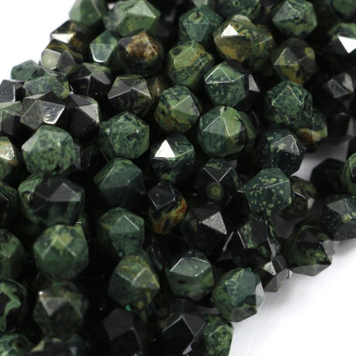 green jasper, 8mm, diamond, faceted, 1 strand, 16 inches, approx. 48 beads.-Gemstone Beads-BeadsVenture