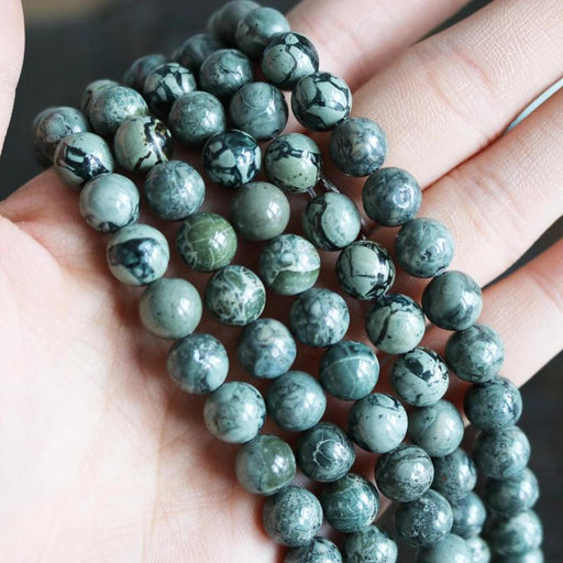 green jasper, 8mm, round, glossy, 1 strand, 16 inches, approx. 48 beads.-Gemstone Beads-BeadsVenture