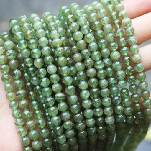 green kunzite, 5-6mm, round, glossy, 1 strand, 16 inches, approx. 70 beads.-Gemstone Beads-BeadsVenture