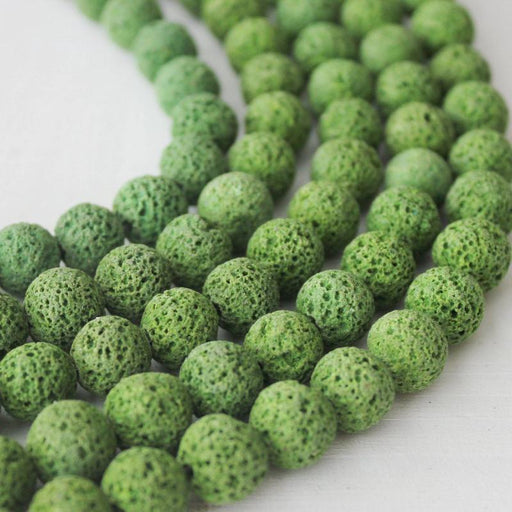green lava, 10mm, round, rough, 1 strand, 16 inches, approx. 40 beads.-Gemstone Beads-BeadsVenture