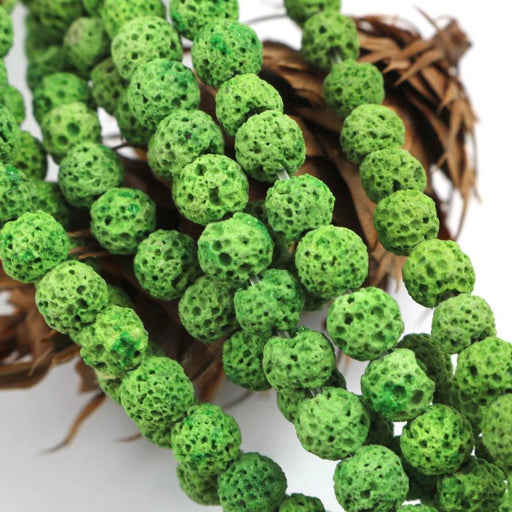 green lava, 6mm, round, raw, 1 strand, 16 inches, approx. 66 beads.-Gemstone Beads-BeadsVenture