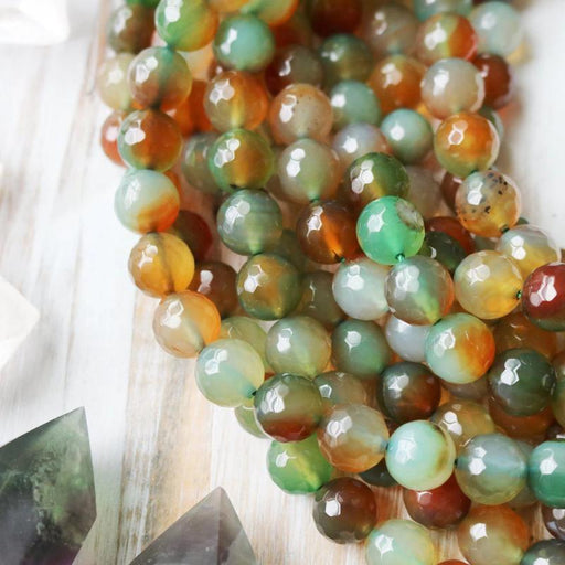 green red agate, 10mm, round, faceted, 1 strand, 16 inches, approx. 40 beads.-Gemstone Beads-BeadsVenture