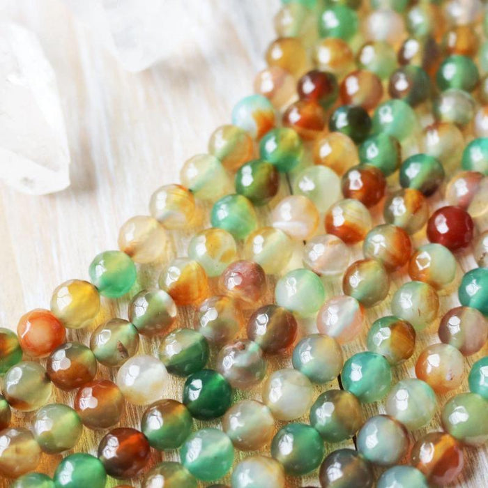 green red agate, 8mm, round, faceted, 1 strand, 16 inches, approx. 48 beads.-Gemstone Beads-BeadsVenture