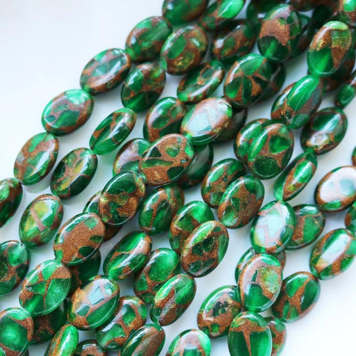 green resin sponge quartz, 14mm × 10mm, oval, glossy, 1 strand, 16 inches, approx. 28 beads.-Gemstone Beads-BeadsVenture