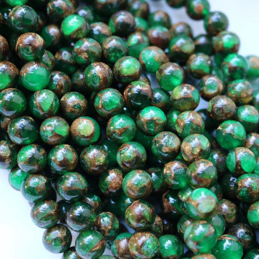 green resin sponge quartz, 8mm, round, glossy, 1 strand, 16 inches, approx. 48 beads.-Gemstone Beads-BeadsVenture