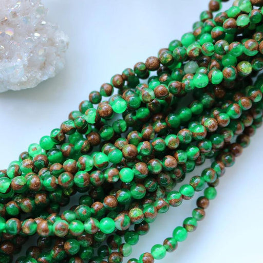 green sponge quartz, 4mm, round, glossy, 1 strand, 16 inches, approx. 96 beads.-Gemstone Beads-BeadsVenture