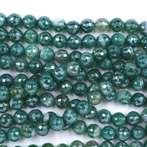 green striped agate, 10mm, round, silver plated, faceted, 16 inch strand, approx. 38 beads-Gemstone Beads-BeadsVenture