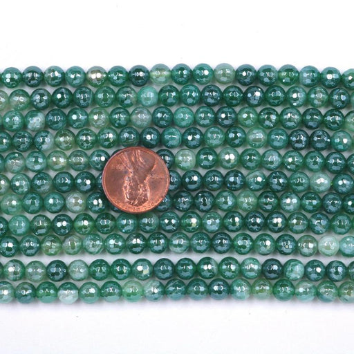 green striped agate, 6mm, round, silver plated, faceted, 16 inch strand, approx. 66 beads-Gemstone Beads-BeadsVenture