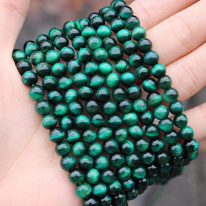 green tiger eye, 6mm, round, glossy, 1 strand, 16 inches, approx. 66 beads.-Gemstone Beads-BeadsVenture
