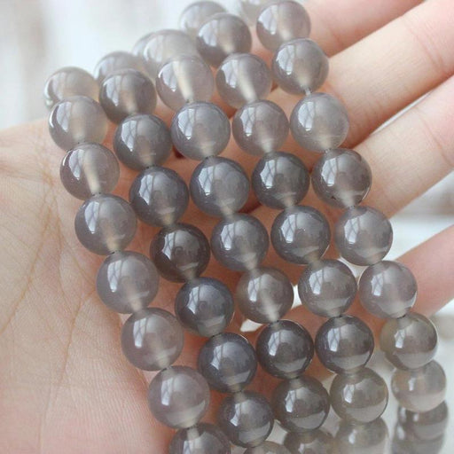 grey agate, 10mm, round, glossy, 1 strand, 16 inches, approx. 40 beads.-Gemstone Beads-BeadsVenture