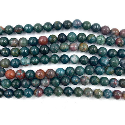 8mm bloodstone beads, glossy, 1 strand, 16 inches, approx. 48 beads.