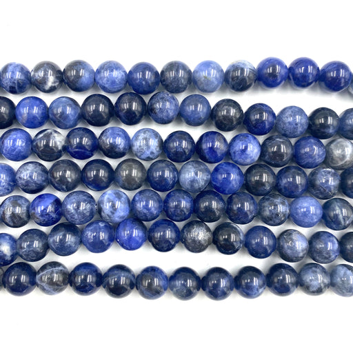 8mm round sodalite beads, glossy, 1 strand, 16 inches, approx. 48 beads.