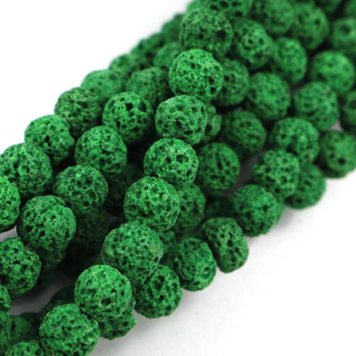 jade green lava, 6mm, round, rough, 1 strand, 16 inches, approx. 66 beads.-Gemstone Beads-BeadsVenture
