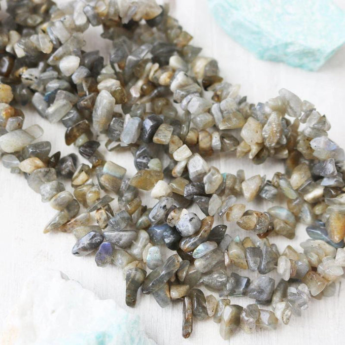 labradorite, 3mm-8mm, chip, glossy, 1 strand, 32 inches, approx. 120 beads.-Gemstone Beads-BeadsVenture