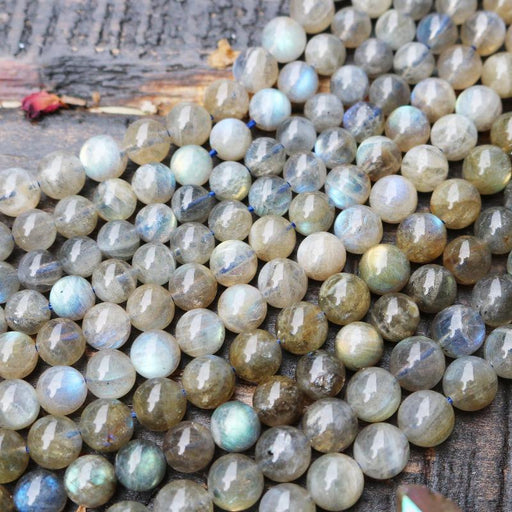 labradorite, 7mm - 8mm, round, glossy, 1 strand, 16 inches, approx. 48 - 55 beads. mixed-Gemstone Beads-BeadsVenture