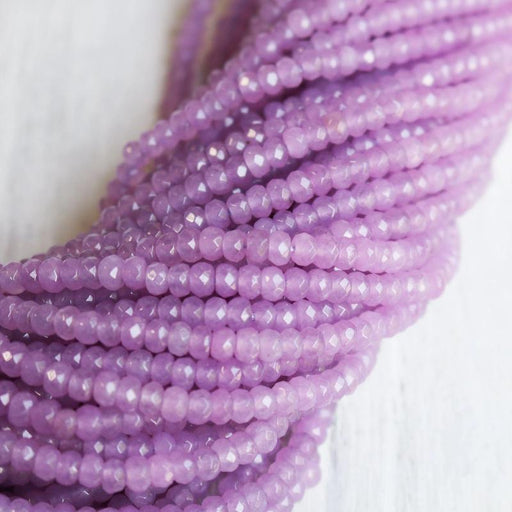 lavender jade, approx. 4mm x 2mm, rondelle, faceted, 1 strand, 16 inches, approx. 110 beads.-Gemstone Beads-BeadsVenture