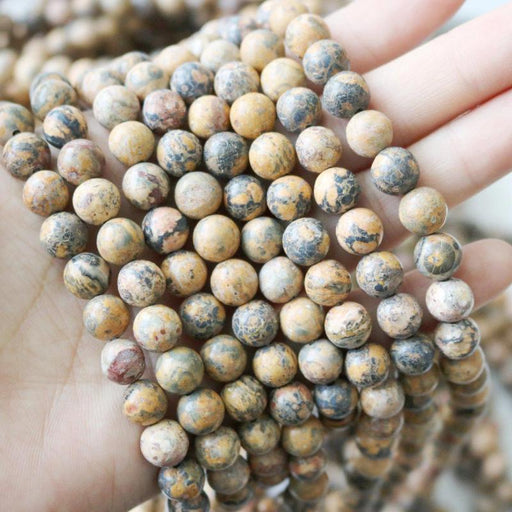 leopardskin Jasper, 8mm, round, glossy, 1 strand, 16 inches, approx. 48 beads.-Gemstone Beads-BeadsVenture