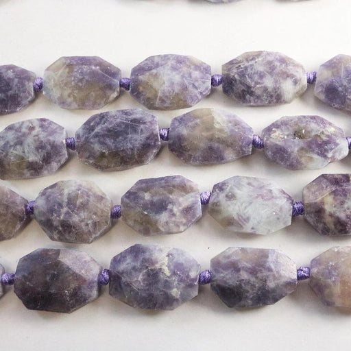 lepidolite, approx. 25mm ×35, hexagon, faceted, 1 strand, 16 inches, approx. 11 beads.-Gemstone Beads-BeadsVenture