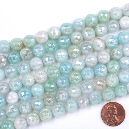 light blue agate, 10mm, round, silver plated, faceted, 16 inch strand, approx. 38 beads-Gemstone Beads-BeadsVenture