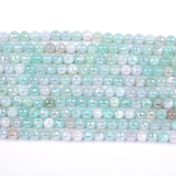 light blue agate, 6mm, round, silver plated, faceted, 16 inch strand, approx. 66 beads-Gemstone Beads-BeadsVenture