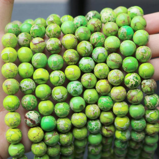 light green impression jasper, 10mm, round, glossy, 1 strand, 16 inches, approx. 40 beads.-Gemstone Beads-BeadsVenture