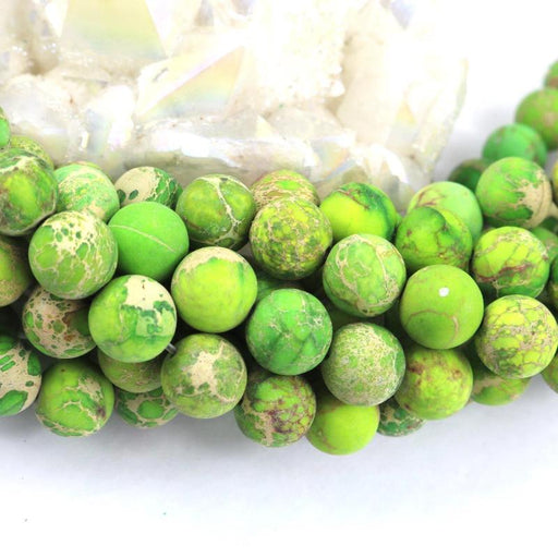 light green impression jasper, 10mm, round, matte, 1 strand, 16 inches, approx. 40 beads.-Gemstone Beads-BeadsVenture