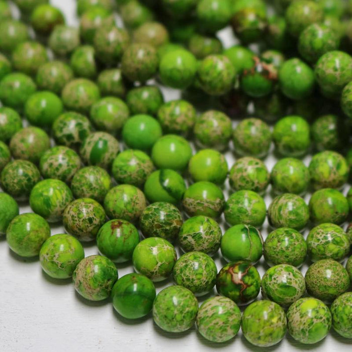 light green impression jasper, 8mm, round, glossy, 1 strand, 16 inches, approx. 48 beads.-Gemstone Beads-BeadsVenture