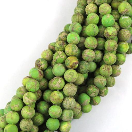 light green impression jasper, 8mm, round, matte, 1 strand, 16 inches, approx. 48 beads.-Gemstone Beads-BeadsVenture