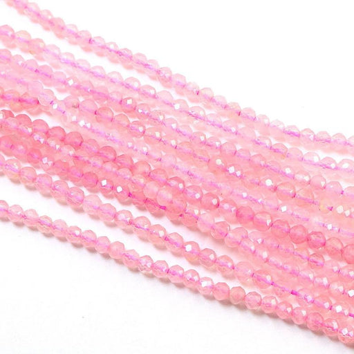 Madagascar rose quartz, approx. 3mm, round, faceted, 1 strand, approx. 145 beads.-Gemstone Beads-BeadsVenture