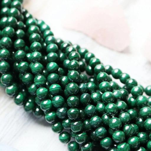malachite, 8mm, round, glossy, 1 strand, 16 inches, approx. 48 beads.-Gemstone Beads-BeadsVenture