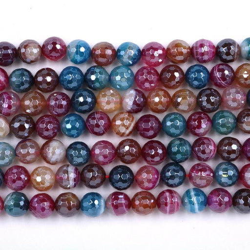 mixed color agate, 10mm, round, silver plated, faceted, 16 inch strand, approx. 38 beads-Gemstone Beads-BeadsVenture