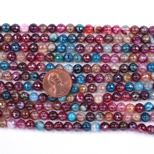 mixed color agate, 6mm, round, silver plated, faceted, 16 inch strand, approx. 66 beads-Gemstone Beads-BeadsVenture