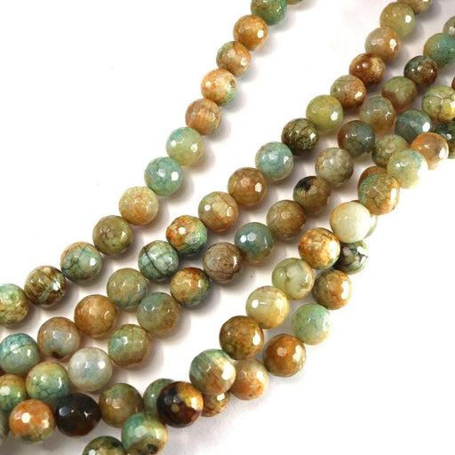 mixed color crackle agate, 10mm, round, faceted, 1 strand, 16 inches, approx. 40 beads.-Gemstone Beads-BeadsVenture
