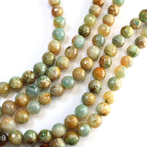mixed color crackle agate, 8mm, round, faceted, 1 strand, 16 inches, approx. 48 beads.-Gemstone Beads-BeadsVenture