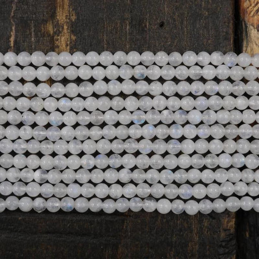 moonstone, 4mm, round, glossy, 1 strand, 16 inches, approx. 96 beads.-Gemstone Beads-BeadsVenture