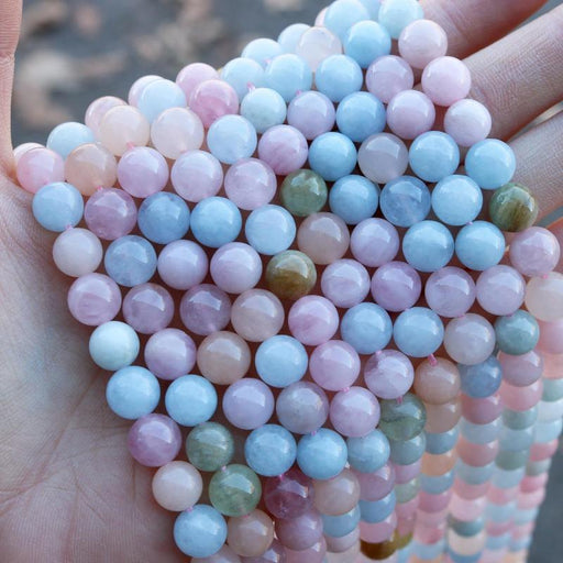 morganite, mixed beryl, 8mm, round, glossy, 1 strand, 16 inches, approx. 48 beads.-Gemstone Beads-BeadsVenture