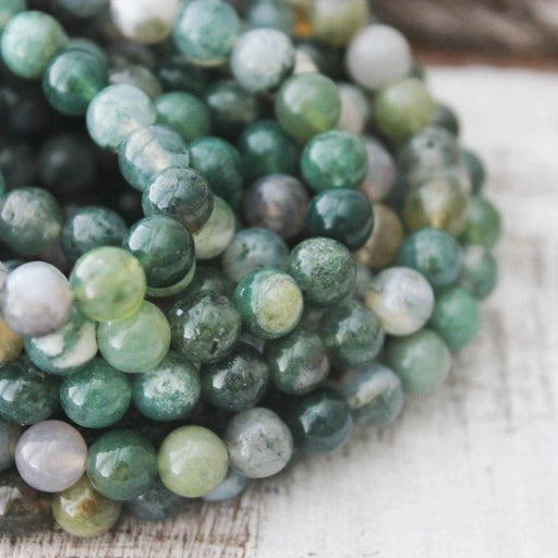 moss agate, 6mm, round, glossy, 1 strand, 16 inches, approx. 66 beads.-Gemstone Beads-BeadsVenture