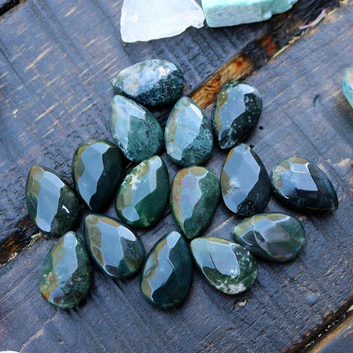 moss agate, approx. 30mm x 20mm, teardrop, faceted, sold as 1 bead.-Gemstone Beads-BeadsVenture