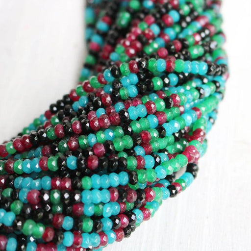 multi color jade, approx. 4mm x 2mm, rondelle, faceted, 1 strand, 16 inches, approx. 110 beads.-Gemstone Beads-BeadsVenture