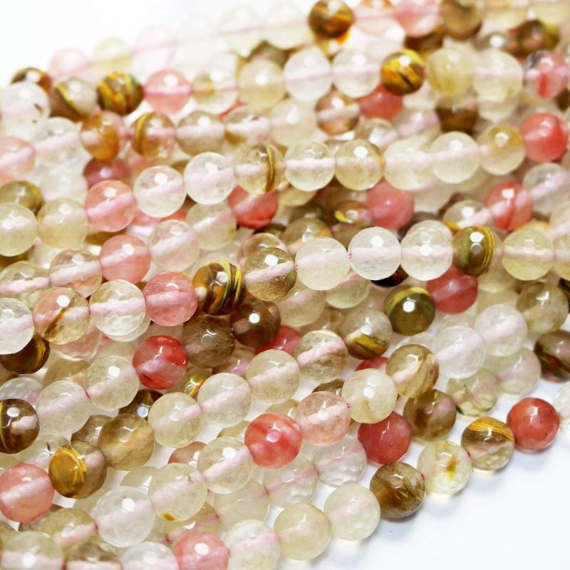 multicolor cherry quartz, 4mm, faceted, glossy, 1 strand, 16 inches, 96 beads,-Gemstone Beads-BeadsVenture