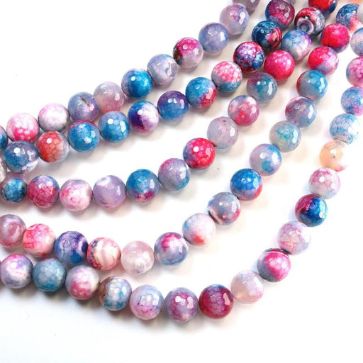 multicolor fire agate, 10mm, round, faceted, 1 strand, 16 inches, approx. 36 beads.-Gemstone Beads-BeadsVenture