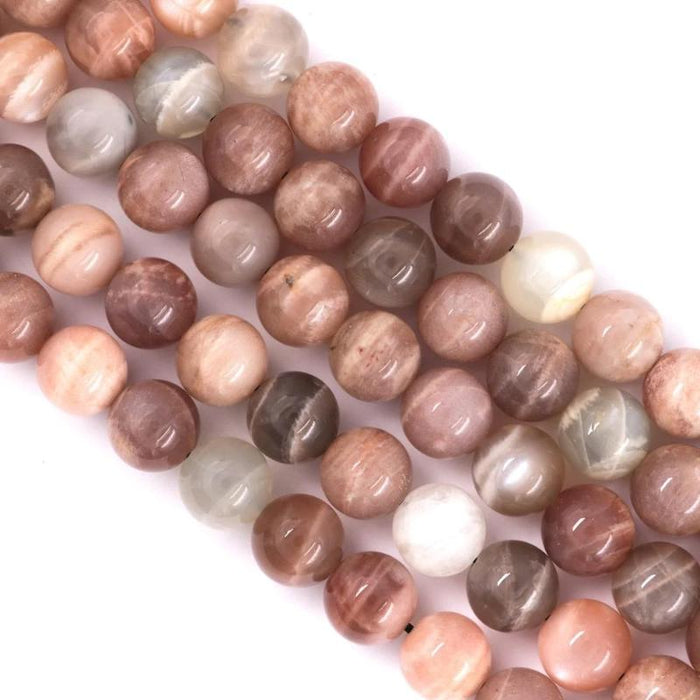 multicolor moonstone, 10mm, round, glossy, 1 strand, 16 inches, approx. 40 beads.-Gemstone Beads-BeadsVenture