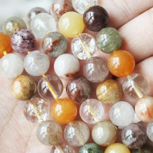 multicolor rutilated quartz, 10mm, round, glossy, 1 strand, 16 inches, approx. 40 beads.-Gemstone Beads-BeadsVenture