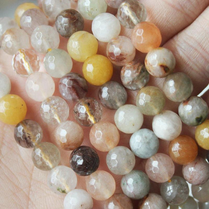 multicolor rutilated quartz, 8mm, round, faceted, 1 strand, 16 inches, approx. 48 beads.-Gemstone Beads-BeadsVenture